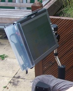 Tablet PC mounted on a wheelchair